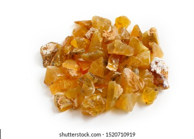 Yellow opal gemstone, natural mineral jewelry, rough raw specimen common opal on white background