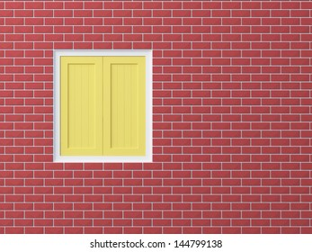 yellow opaque  window on red brick wall