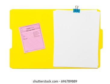Yellow Open Folder With Paper Isolated on White Background.
