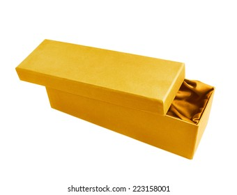 Yellow opened tall gift box with the velvet cloth inside, isolated over the white background