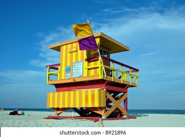 Yellow and Orange Art Deco Lifeguard Tower in South Beach