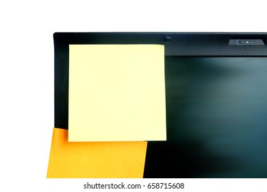 yellow and orange color post it paper stick on screen of laptop on white background have copy space for put text
