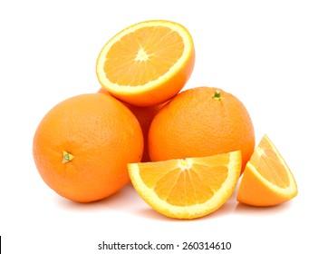 yellow orange fruits on white background