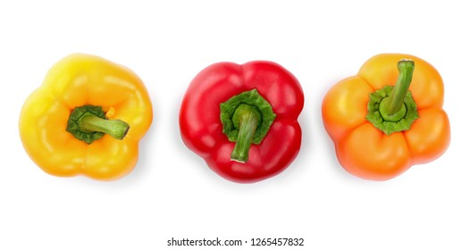 yellow orange and red sweet bell pepper isolated on white backgro. Top view. Flat lay