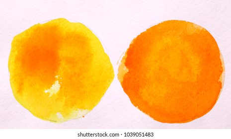 yellow and orange round circle abstract watercolor on white background