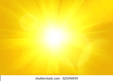 Yellow orange summer sun light burst background.