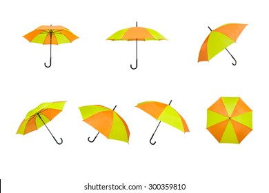 yellow and orange umbrellas on a white background