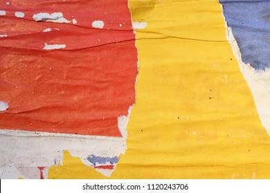 yellow orange urban ripped torn street poster background texture