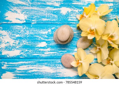 Yellow Orchid with stones on blue background