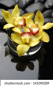 Yellow orchid in vase with therapy stones