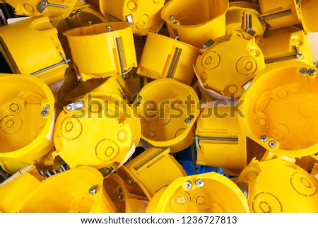 Excellent Yellow Outlet Box Electric Socket Domestic Stock Photo Edit Now Wiring Database Liteviha4X4Andersnl
