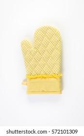 Yellow oven mitt on a white background.