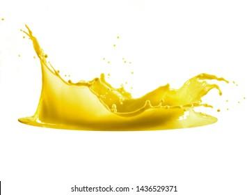 yellow paint splash isolated on white background