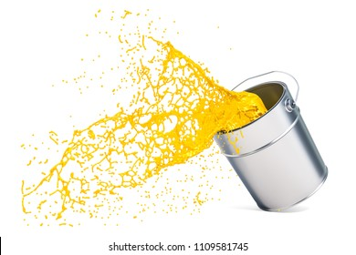 Yellow paint splashing out of can, 3D rendering isolated on white background