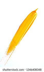 Yellow Paint Splatters on White Background