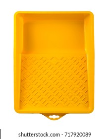 Yellow paint tray isolated on white background