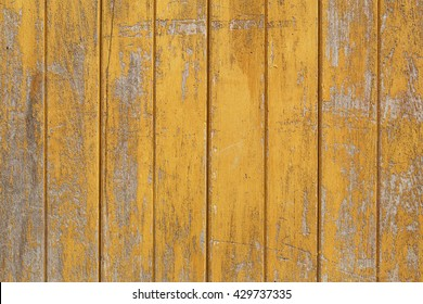 yellow painted wood planks as background or texture, natural pattern
