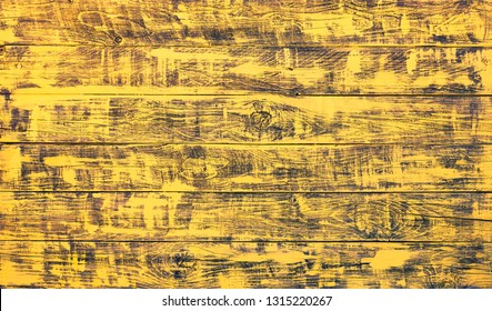 Yellow painted wooden planks - Wood background with golden brush strokes -  Horizontal boards