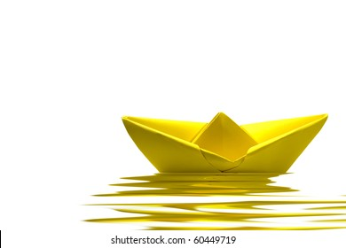 Yellow paper boat on water with white background