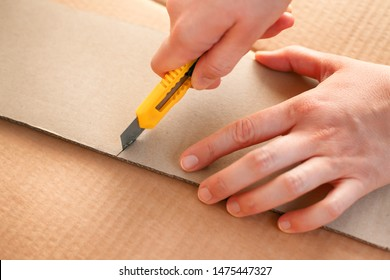 Yellow paper knife in woman hands cutting piece of cardboard. Close-up.