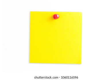 Yellow paper memo card isolated on white.
