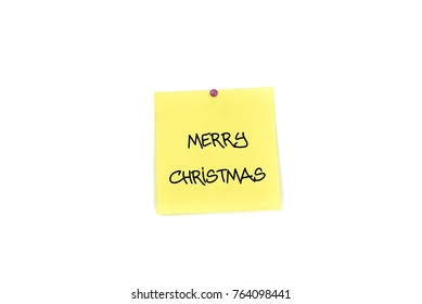 Yellow paper note with pin : Merry Christmas
