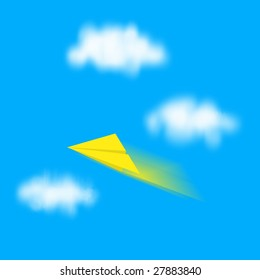 yellow paper plane against blue sky
