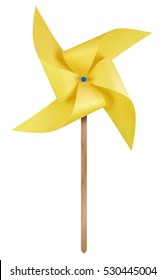 Yellow paper windmill pinwheel isolated on white with Clipping Path