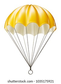 yellow parachute isolated on a white. 3d illustration