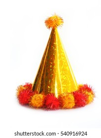 Yellow party hat isolated on the white background.