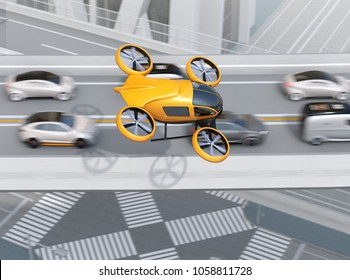 Yellow passenger drone flying over cars in heavy traffic jam. Concept for drone taxi. 3D rendering image.