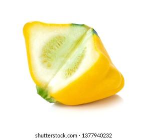 Yellow pattypan squash isolated on white background.