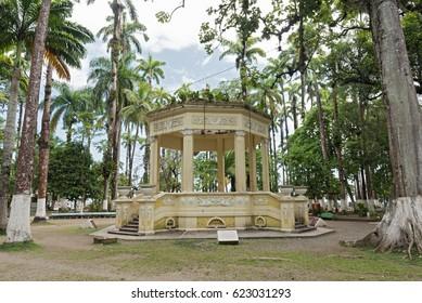 Yellow pavilion in Parque Vargas, City Park in Puerto Limon, Costa Rica