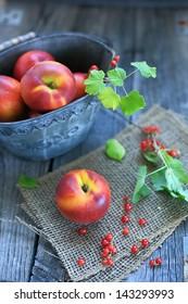 yellow peach & red berry