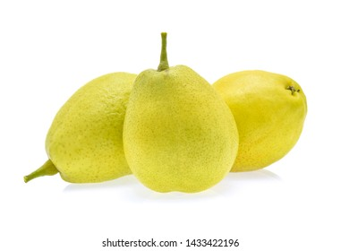 yellow pear fruit isolated on white