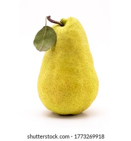 Yellow pear fruit with leaf vertical isolated on white