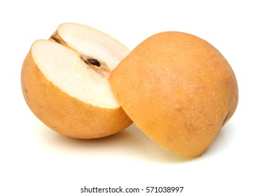 Yellow pears over white background