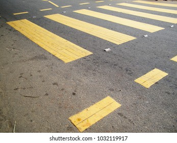 Yellow pedestrian crossing point.Road traffic symbol.Sri Lanka road signals.