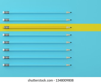 Yellow pencil and blue pencil on blue pastel background. minimal creative concept. The idea about the business leadership, think different.