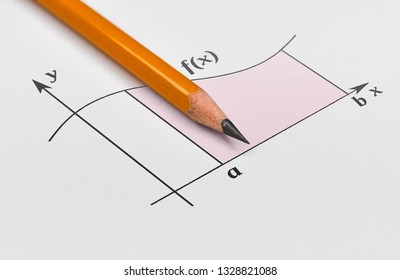 Yellow pencil and graph of a function with shaded area under it
