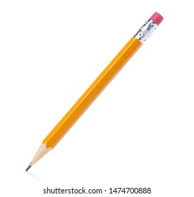 Yellow pencil on isolated white background - Shutterstock ID 1474700888