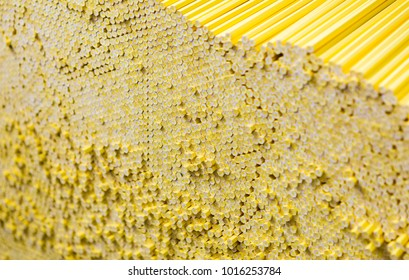 Yellow pencil warehouse. Drawing artist supplies. Background pattern texture