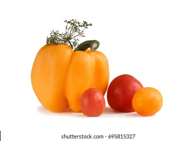 Yellow pepper and tomatoes on a white background