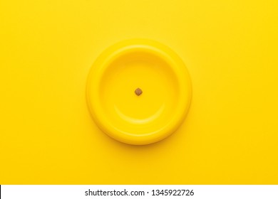 yellow pet bowl with dry food leftovers on the yellow background