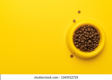 yellow pet bowl full of dry food on the yellow background with copy space