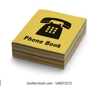 Yellow Phone Book with Black Phone on Cover Isolated on White Background.