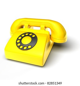 yellow phone on white background - 3D render bitmap
