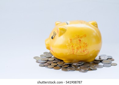 yellow piggy bank and coins isolated on white background