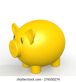 Yellow piggy bank image with hi-res rendered artwork that could be used for any graphic design.