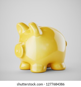 Yellow piggy bank isolated on white background. 2019 pig year concept.  2